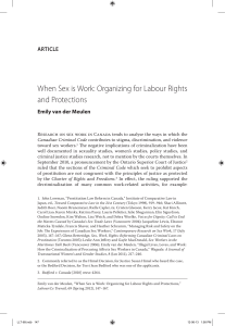 When Sex is Work: Organizing for Labour Rights and Protections