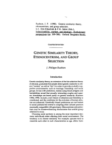 genetic similarity theory, ethnocentrism, and group selection