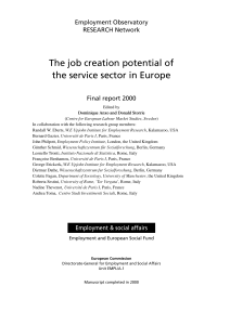 The job creation potential of the service sector in