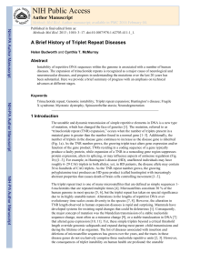 A Brief History of Triplet Repeat Diseases