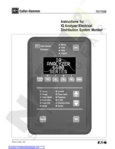 Instructions for IQ Analyzer Electrical Distribution System Monitor