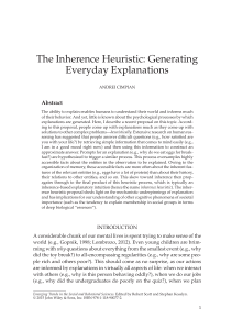 """The Inherence Heuristic: Generating Everyday Explanations"" in"