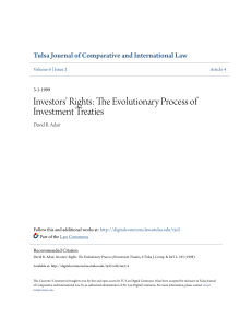 Investors` Rights: The Evolutionary Process of Investment Treaties