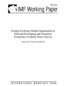 Foreign Exchange Market Organization in Selected