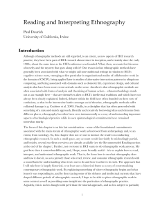 Reading and Interpreting Ethnography