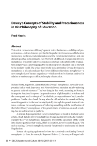 Dewey`s Concepts of Stability and Precariousness - Purdue e-Pubs