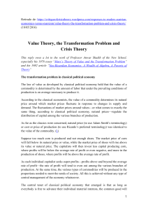 Value Theory, the Transformation Problem and Crisis Theory