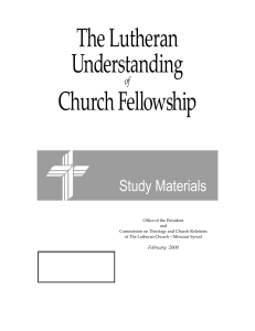 The Lutheran Understanding of Church Fellowship