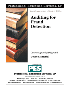 Auditing for Fraud Detection - Professional Education Services