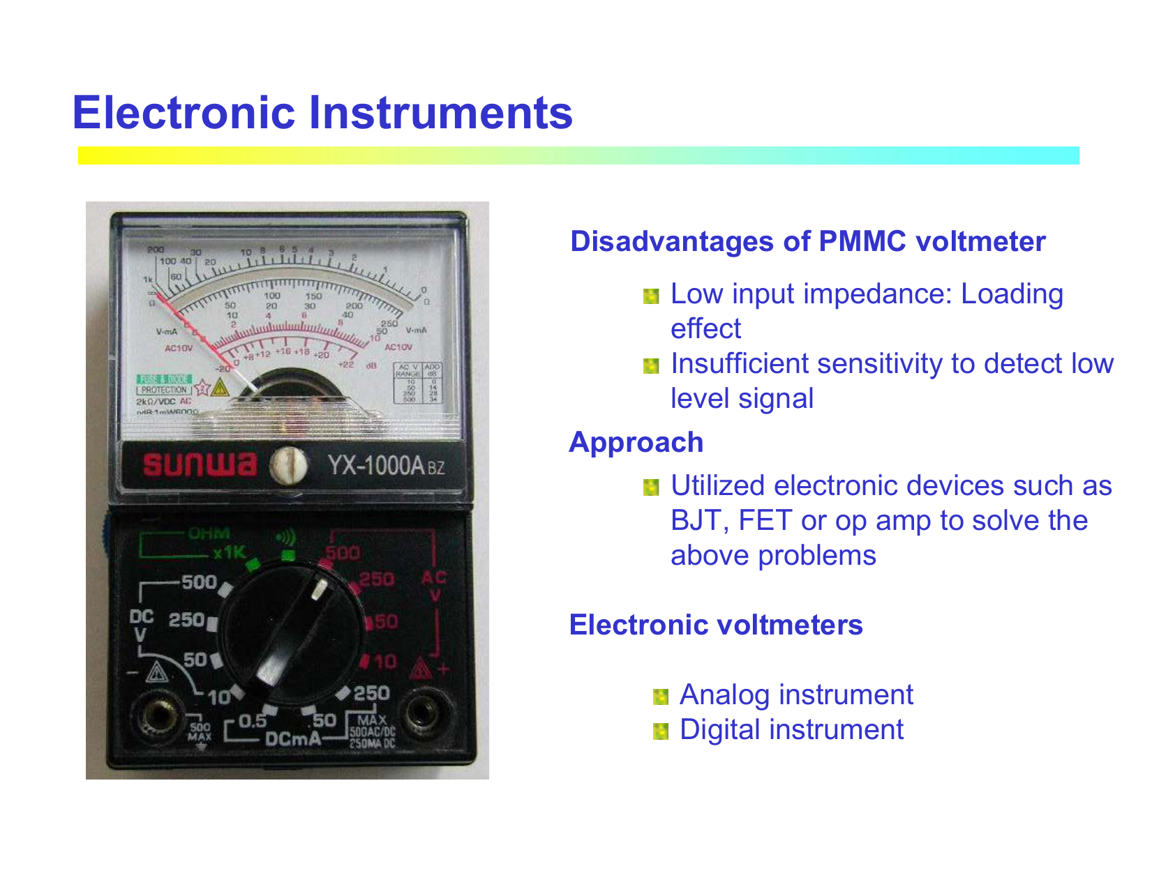 Electronic Instruments For Measuring Basic Parameters Voltmeters