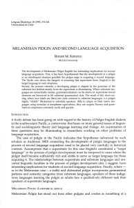 melanesian pidgin and second language acquisition