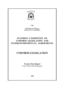 uniform legislation - Parliament of Western Australia