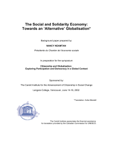The Social and Solidarity Economy