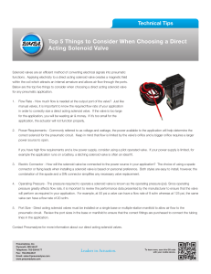 Top 5 Things to Consider When Choosing a Direct Acting Solenoid