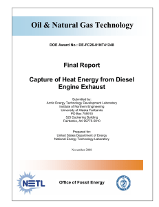 Capture of Heat Energy from Diesel Engine Exhaust