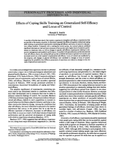 Effects of Coping Skills Training on Generalized Self