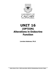 UNIT 16 Alterations in Endocrine Function