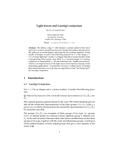Light leaves and Lusztig`s conjecture 1 Introduction