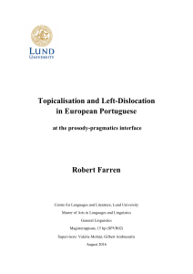 Topicalisation and Left-Dislocation in European Portuguese Robert