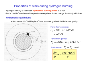 Properties of stars during hydrogen burning