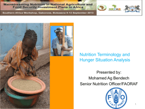 Nutrition terminology and situation analysis of Hunger