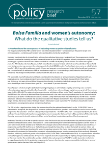 Bolsa Família and women`s autonomy: What do the