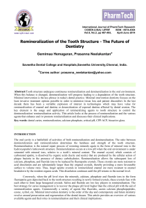 Remineralization of the Tooth Structure