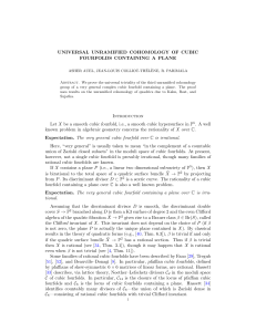 Universal unramified cohomology of cubic fourfolds containing a plane