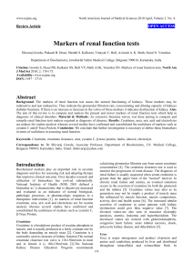 Markers of renal function tests (PDF Available)