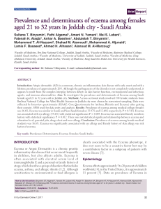 Prevalence and determinants of eczema among females aged 21 to