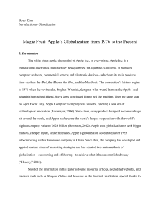 The Magic Fruit: Apple`s Globalization from 1976 to the Present