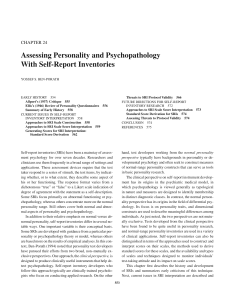 Assessing Personality and Psychopathology With Self