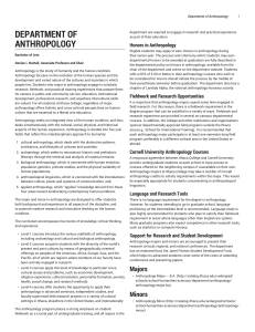 Department of Anthropology - Ithaca College Catalog 2016-2017