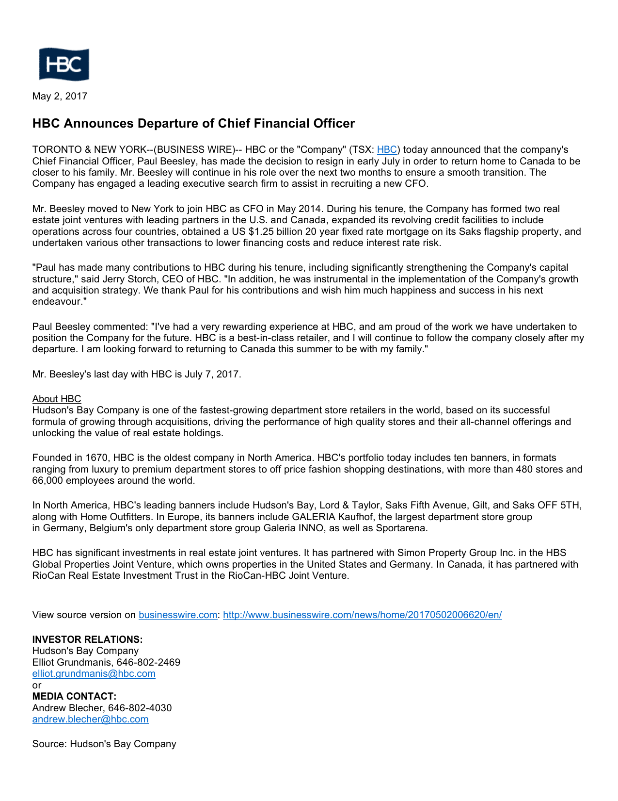 HBC Announces Departure of Chief Financial