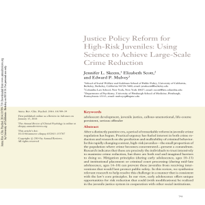 Justice policy reform for high-risk juveniles: Using