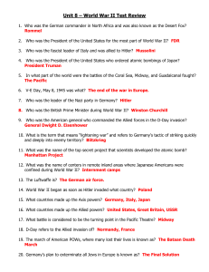 Unit 8 – World War II Test Review