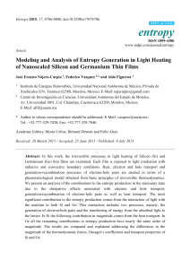 Modeling and Analysis of Entropy Generation in Light