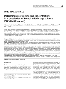 Determinants of serum zinc concentrations in a population of French