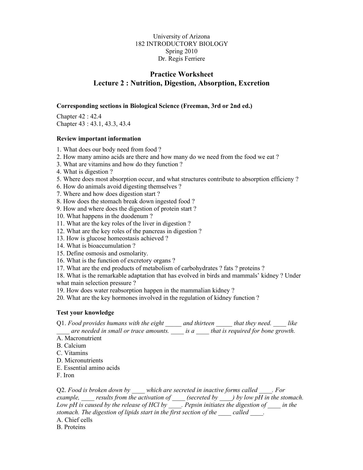 Kidney Questions Worksheet