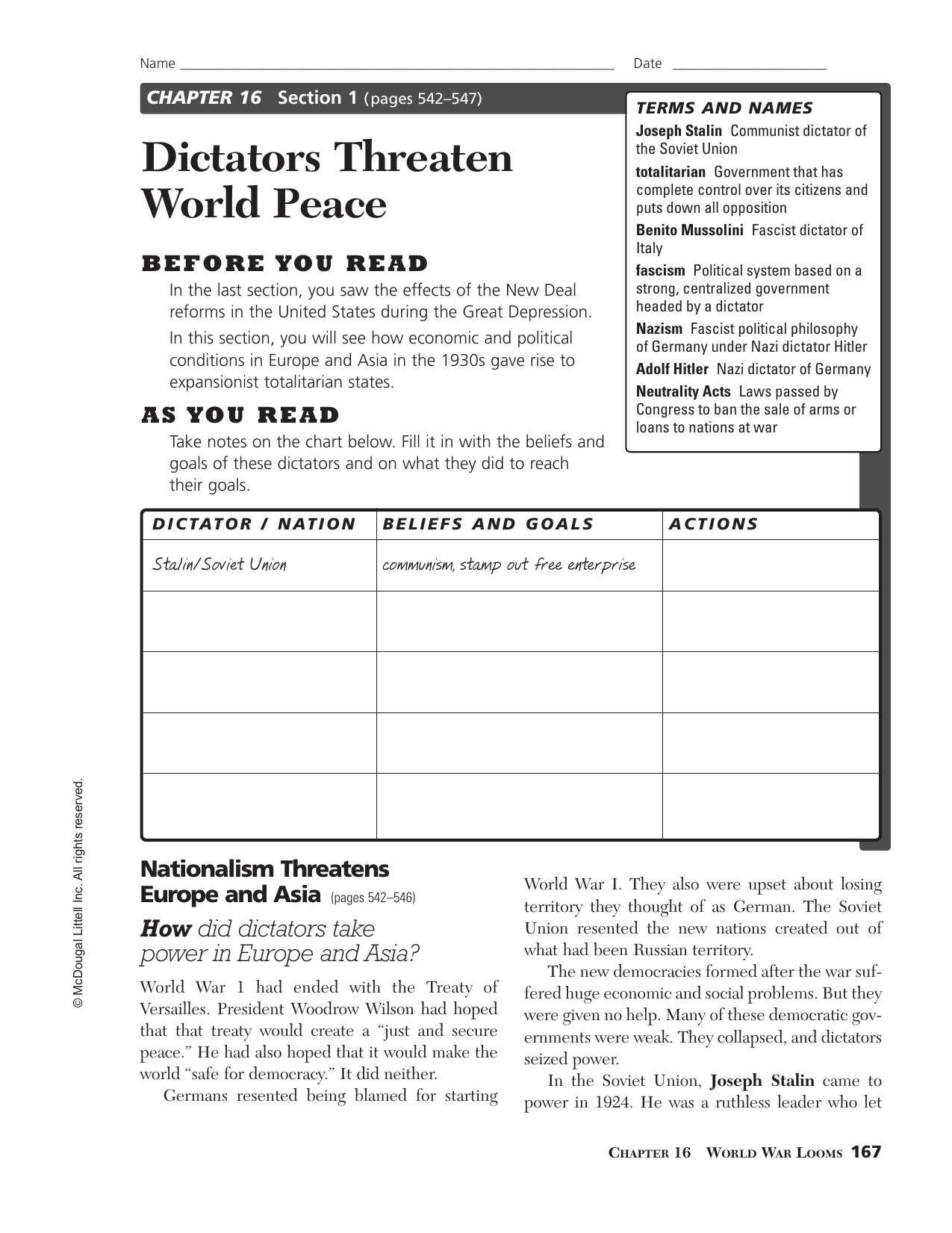 Dictators Threaten World Peace