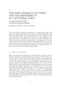 The inescapability of ethics and the impossibility of