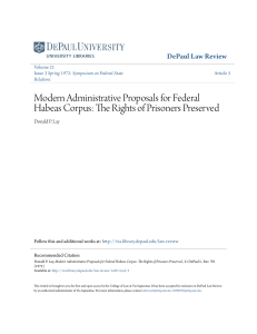 Modern Administrative Proposals for Federal Habeas Corpus: The