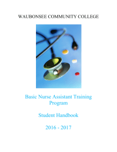 Basic Nurse Assistant Training Program Student Handbook 2016