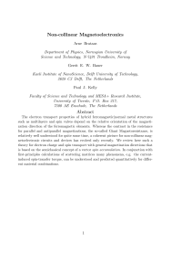 Non-collinear Magnetoelectronics Abstract