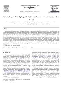 Optimality models of phage life history and parallels in