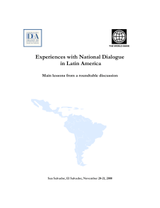 Experiences with National Dialogue in Latin America
