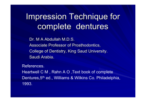 Impression Technique for complete dentures