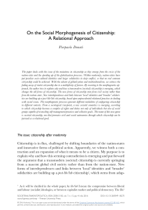 On the Social Morphogenesis of Citizenship: A