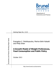 A Growth Model of Weight Preferences, Food