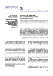 analysis of adhesion characteristics of liner dental materials